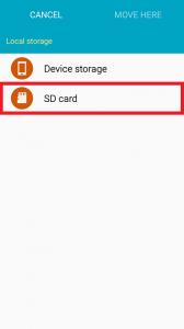 SD card menu is selected