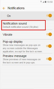 Notification sound menu is selected